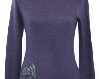 Deep purple merino wool turtleneck embroidered with leaf design