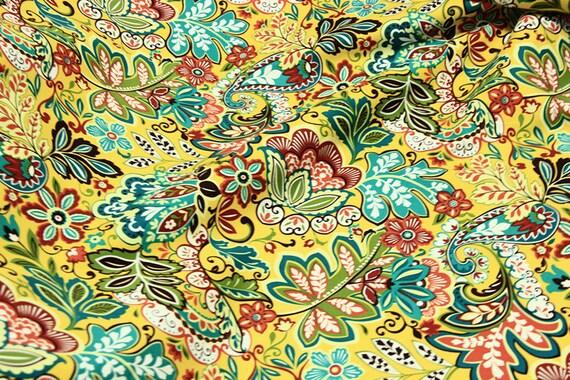 Tissu coton fleuri, fleur colorée en tissu, tissu royal jaune dor,