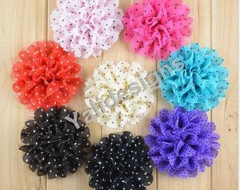 10pcs 11CM 4.3'' inch Wholesale Mesh Chiffon Flower with Dot /Flower Headdress DIY Fabric Headband Accessories-Mixed Color-Flat Back  YTA47