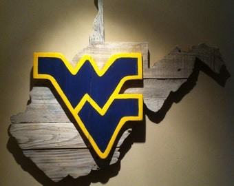 Wooden State of West Virginia with WVU logo