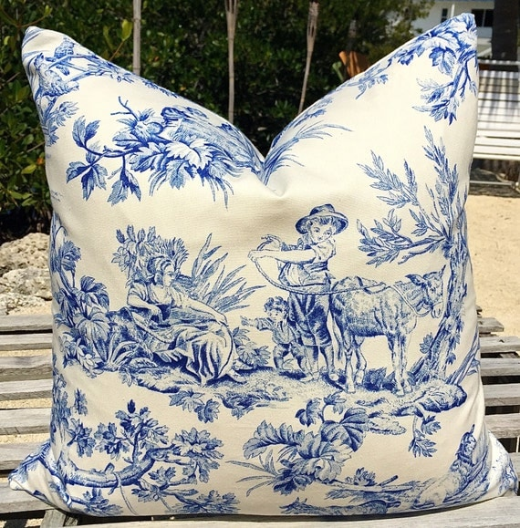 blue and white toile pillow cover. Black Bedroom Furniture Sets. Home Design Ideas