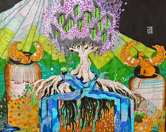 Paradies...oder, what our feet ahead of 2014 68cm * 97cm ink, colored pencil, marker, Fineliners, gel pen on rice paper
