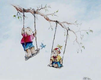 """5 x 7 art print of original painting titled """"Playtime""""  by Pamela Price is perfect for a child's room or nursery."""