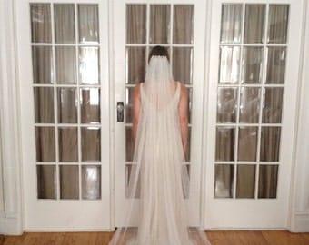 Faux Silk Tulle Veil (Plain, No Jewels)