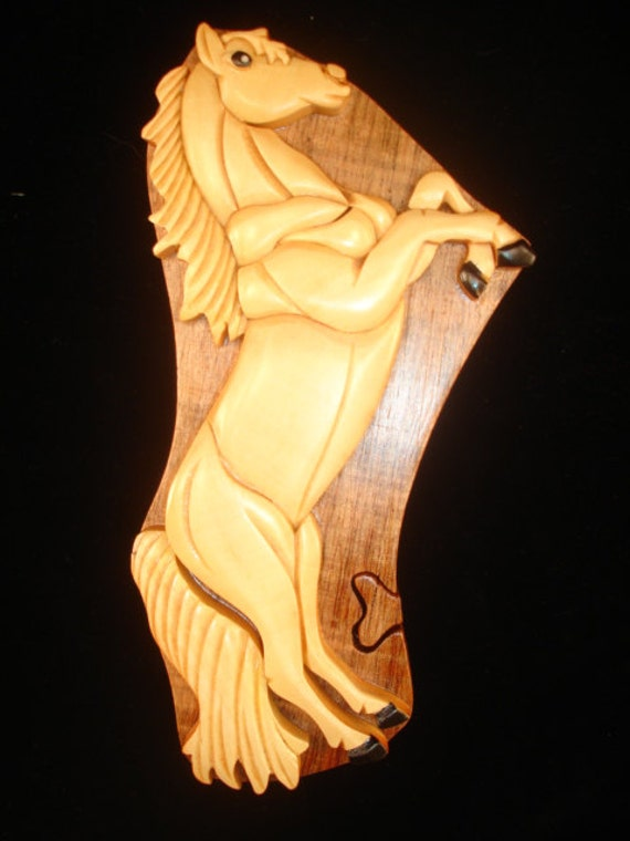 Hand carved wood art intarsia white horse puzzle by