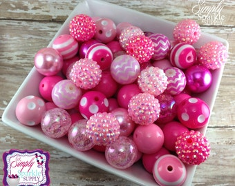 Pink Bulk lot 100 chunky bead PINK mix solids dots and rhinestones 20 mm wholesale chunky beads