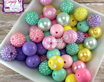Easter 2015 Bulk Wholesale lot 100 chunky bead  mix solids dots and rhinestones 20 mm wholesale chunky beads