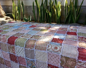 "Picnic Rag Quilt Throw, Rag Quilt, Large Throw - ""Country Orchard"" Collection"