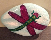 Hand painted dragonfly garden rock. Paper weight. Dragonfly decor. Dragonfly painting. Garden decor