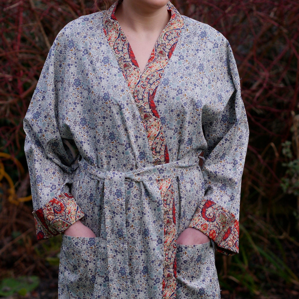 Liberty Print Cotton Women S Robe Light Blue Floral Rust