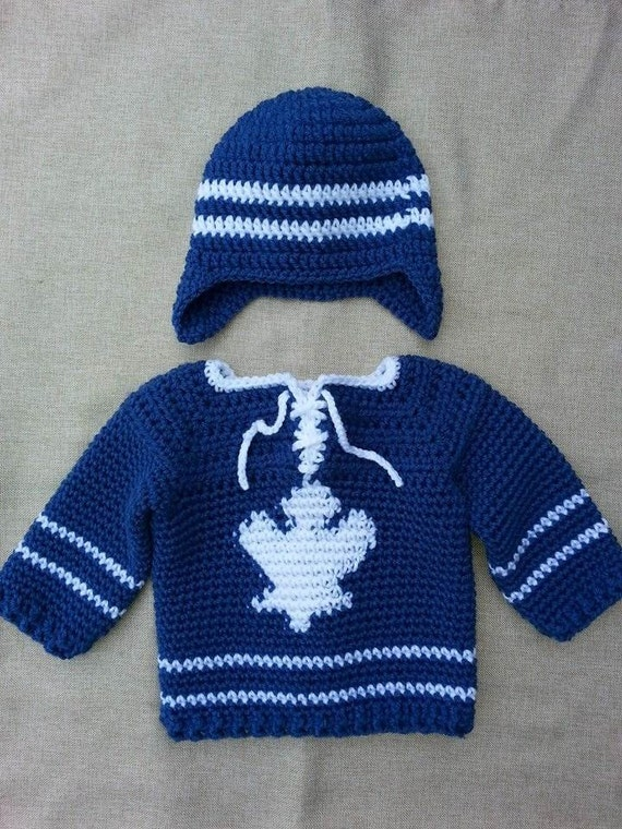 Knitting Patterns Maple Leaf Hat : Toronto Maple Leafs Baby Hockey Sweater and Hat