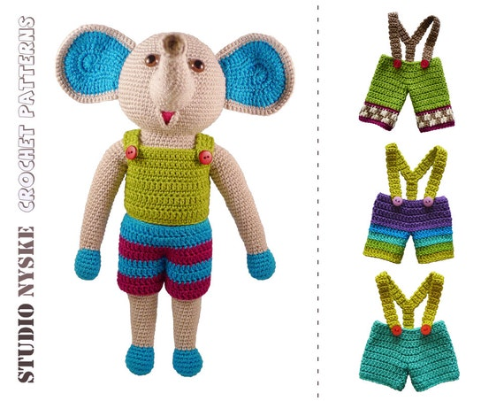 Crochet PATTERN elephant amigurumi dress up doll by ...