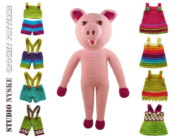 Large Amigurumi Doll Pattern : Crochet amigurumi PATTERN deal LARGE pig dresses by ...