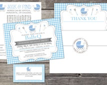 WE PRINT Babyq Invitations for a Boy - Complete Package with Invitations, Thank You Cards, Diaper Raffle Cards, BBQ Baby Shower 177
