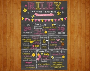 SALE Bumblebee 1st Birthday Chalkboard Poster Pink and Yellow Bumble Bee 1st Year chalkboard Poster 1st year stats Customized for You
