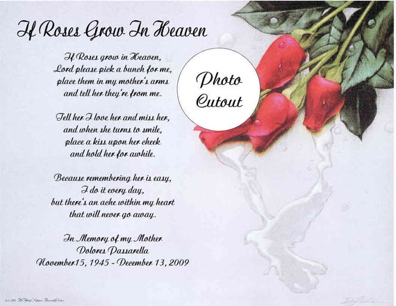 Memorial Poem Gift For Loss Of Mother Sister Daughter If