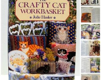 1992~The Crafty Cat Workbasket Pattern Book by Julie Hasler~Needlepoint~Cross Stitch~Applique~Cats~Kittens