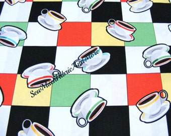 Retro Arnold's Diner fabric~ Benartex~by the yard~ Checkered~Restaurant China~coffee cups~cotton