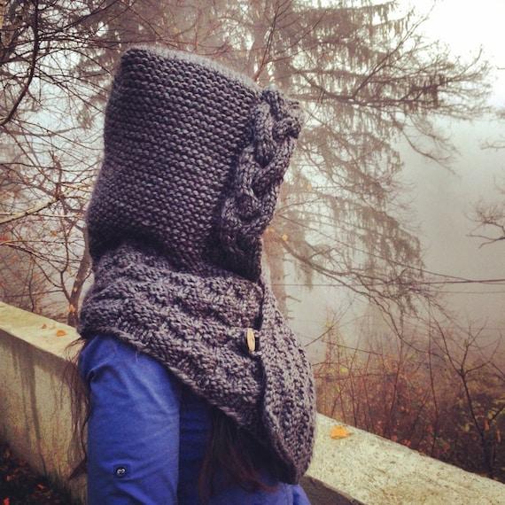 Hooded cowl knitting pattern grey hoodie neck warmer