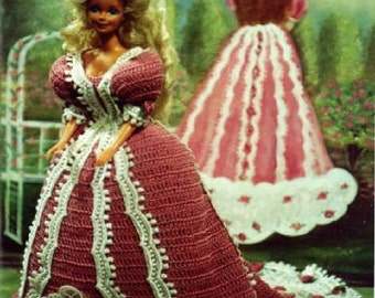 Crochet Fashion Doll Barbie Pattern- #180 VICTORIA IN ROSE