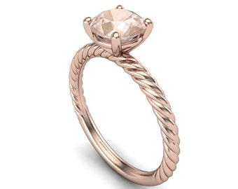 Brilliant Cut 1 Carat Morganite Ring on Twisted 14K Rose Gold