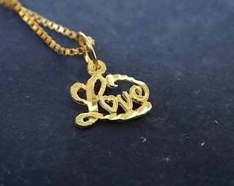 Vintage Estate .925 Sterling Silver Gold-Plated Necklace &14K Yellow Gold Love Pendant 2.31g E1675