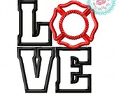 Love Fire Badge  Machine Embroidery Applique Design