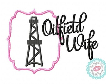Oilfield Wife Derrick Machine Embroidery Applique Design