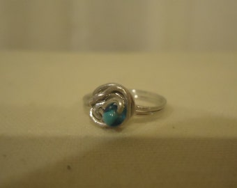Blue Bead Wire Wrapped Ring