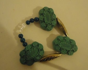 Blue and Gold Leaf Beaded Bracelet