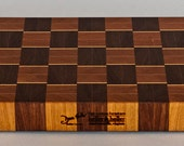 Large Chopping board of cherry and walnut, basketweave end grain with maple highlights