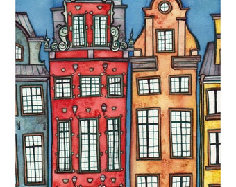 STOCKHOLM SWEDEN Print 8x12 Ink and Watercolor Painting