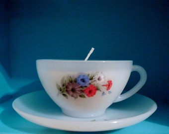 Coffee Cup Candle, Milk Glass with Flowers, Teacup Candle, Unique Gift, Tea Cup and Saucer