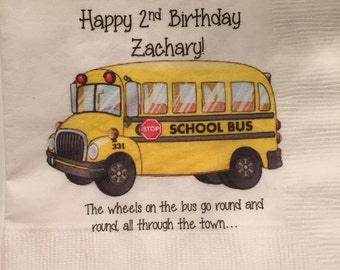 Set of 25 Custom Wheels on the Bus napkins