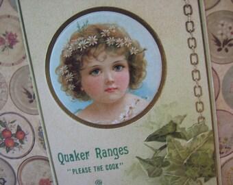 Antique Victorian Vendor Card Quaker Ranges Young Girl Ivy 1800's