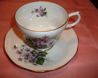 Vintage Rosina Tea Cup & Saucer - Violets