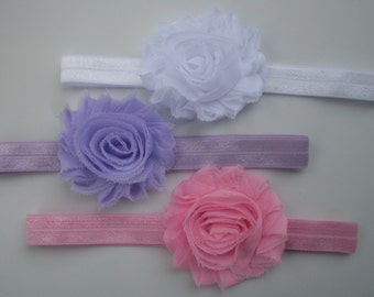 3 Shabby Chic Baby Headband Set, Newborn Headband, Baby Girl Headband, Pink Headband, White Headband, Purple Headband, Newborn Headbands