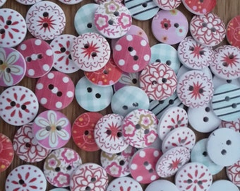 20 Pretty Round 15mm Wooden Buttons