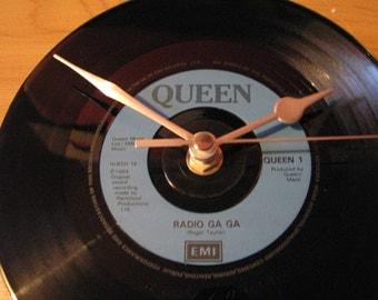 "Queen radio ga ga  7"" vinyl record clock"