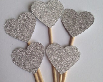Silver Sparkle Heart Cupcake Toppers