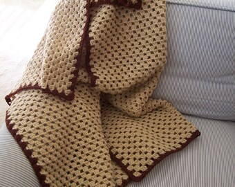 Tan crocheted afghan, couch throw, lap thrown, home and living, large crib blanket, crochet blanket, crocheted throw, crochet couch throw