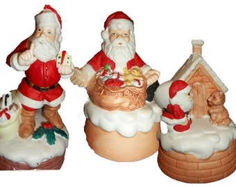 ON SALE WAS 12.99..Trio of Vintage Santa's