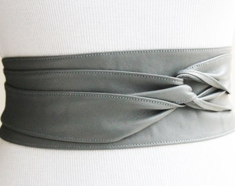 Grey Obi Belt | Leather Sash Belt | Cinch belt | Grey Leather Corset Belt | Bridal belt | Plus size accessory | Waist Belt | gift for her
