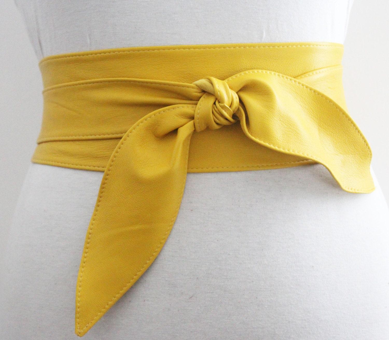 Yellow Belt Tulip Tie Soft Leather Obi Waist Obi By Loveyaayaa