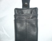 Soft naked leather eye glass  pen and pencil case. Style #745