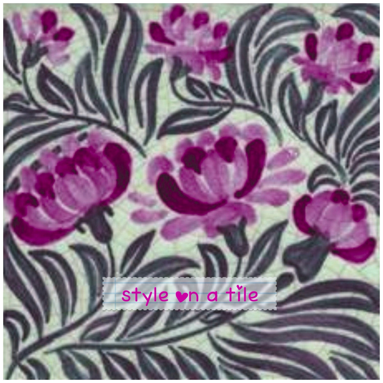Lovely william morris pink purple flower bloom 6152mm ceramic lovely william morris pink purple flower bloom 6152mm ceramic tile trivet kitchen bathroom walls splash backs fireplace tile plant stands dailygadgetfo Images