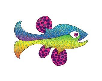 11x14 Sporty Fish Print