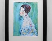 524 - Print with frame, Gustav Klimt, Lady Portrait, Wall art, Print, Art print, Pictures, Vintage painting, Home decor, Vintage pictures