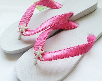 Hot Pink Flip Flops, Danialy Dreams Beach Wedding Collection, Custom & Personalized Flip Flops