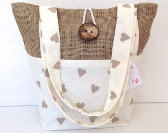 Hearts and Hessian Tote Bag, Small Lunch Bag, Small Tote Bag